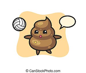 Character cartoon of poop is playing volleyball