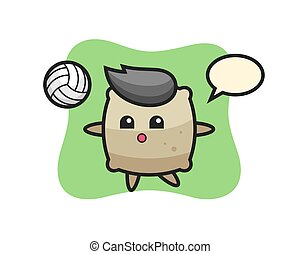 Character cartoon of sack is playing volleyball