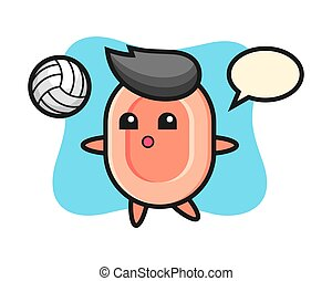 Character cartoon of soap is playing volleyball