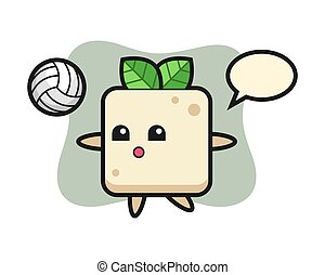 Character cartoon of tofu is playing volleyball