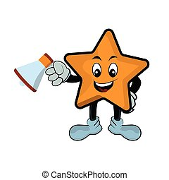 Character cartoon  star with megaphone. Design template vector