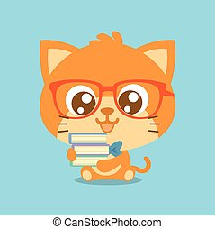 Character cat with book cartoon