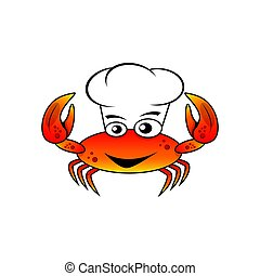 Character chef crab vector illustration