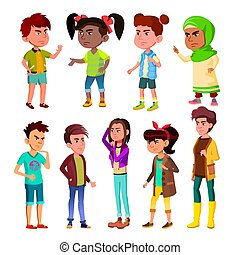 Character Children And Teenager Blowout Set Vector