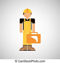 character construction man with tool box drill