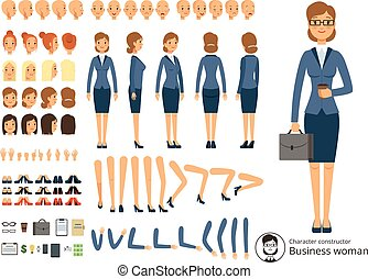Character constructor of business woman. Cartoon vector...