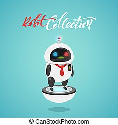 Character cute in flat style. Funny cartoon robot first aid, police.