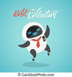 Character cute in flat style. Funny cartoon robot happy