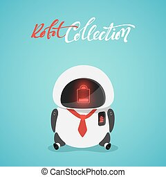 Character cute in flat style. Funny cartoon robot with a discharged battery