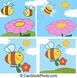 character., dessin animé, collection, abeille
