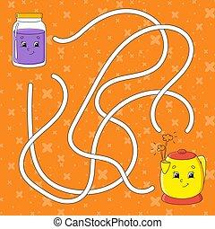 character., dessin animé, couleur, vecteur, puzzle, jeu, ...