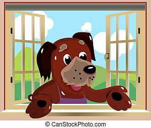 Character dog looking out the window where the nature background, cartoon illustration,