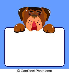Character dog with empty frame, cartoon on light blue background,
