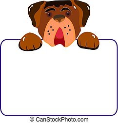 Character dog with empty frame, cartoon on white background,