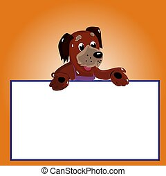 Character dog with empty frame for writing, cartoon on brown background,