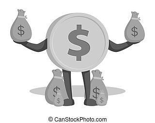 character dollar with money sacks
