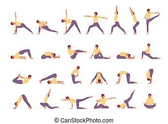 yoga asana set triangle illustration cartoon girl doing