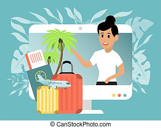 Character female online travel blogger, concept trip vlog ...
