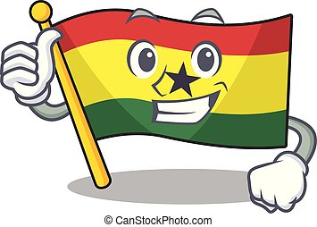 Character flag ghana in with cartoon thumbs up