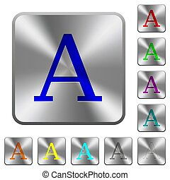 Character font rounded square steel buttons