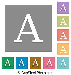 Character font square flat icons