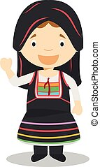 Character from Cyprus dressed in the traditional way Vector ...
