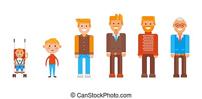 Character from infancy to old age set, vector illustration. Cartoon element, child in stroller, little ginger boy and teenager
