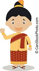 Character from Laos dressed in the traditional way Vector...