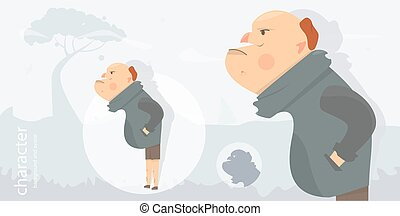 Character funny and comic style. Man angry. Cartoon illustration for animation.