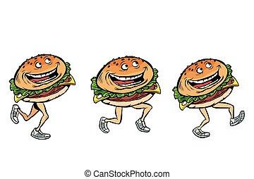 character gait burger set. Comic cartoon pop art retro vector illustration drawing