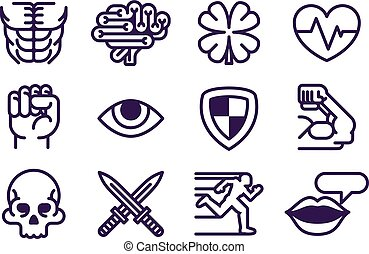 Character Game Attributes Icon Set
