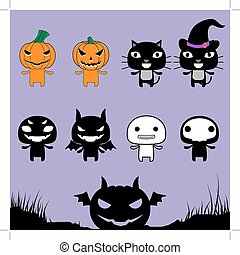 Character Halloween on Laver Background