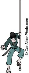 character hanging on a rope