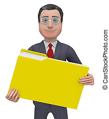 Folder Shows Organizing And Paperwork 3d Rendering