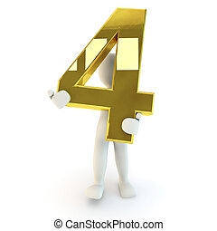 Character holding golden number fou