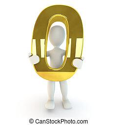 Character holding golden number zer