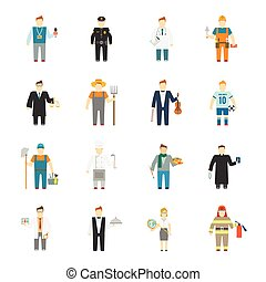 Character icon flat profession set with builder worker cook teacher doctor isolated vector illustration