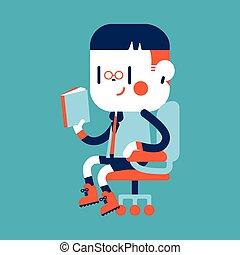Character illustration design. Boy reading cartoon, eps