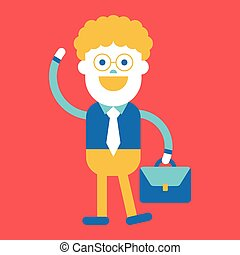 Character illustration design. Businessman going to work cartoon