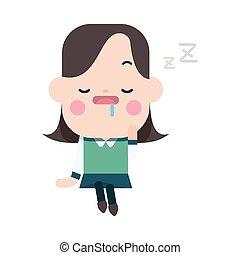 Character illustration design. Businesswoman dozing...
