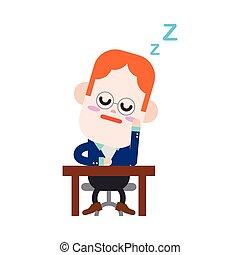 Character illustration design. Businessman dozing...