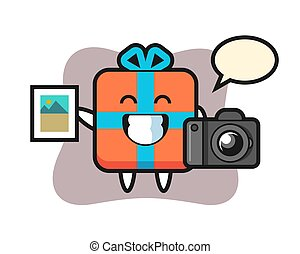 Character illustration of gift box as a photographer
