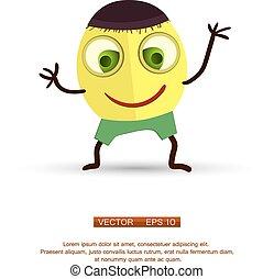 character., isolato, cartone animato, closeup., divertente