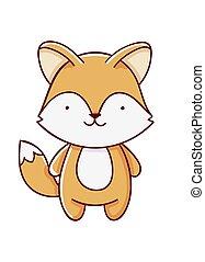 Character kawaii fox cartoon cute hand drawn isolated on white background