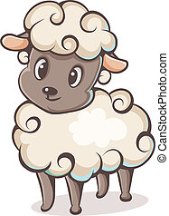colored lamb character on a white background