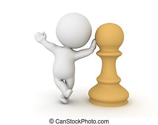 Character leaning on chess pawn piece