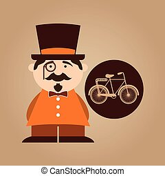 character male hipster bicycle vintage