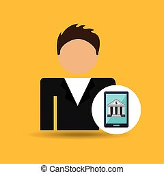 character man smartphone digital bank icon