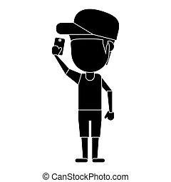 character man smartphone selfie pictogram