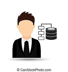 character man with data center design